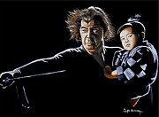 Wolf Portrait Paintings - Lone Wolf and Cub by Al  Molina