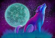 Wolf Digital Art Metal Prints - Lone Wolf Howling Metal Print by Nick Gustafson