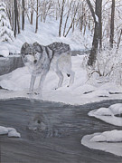 Snow Scene Painting Originals - Lone Wolf by Johanna Lerwick