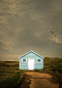 Beach Cottage Framed Prints - Lonely Beach Shack Framed Print by Edward Fielding