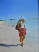 Joyce Reid Prints - Lonely Beach Walk Print by Joyce Reid