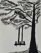 Swing Paintings - Lonely birds by the tree by Shruti Shubham