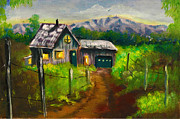 Donna Chaasadah Framed Prints - Lonely Cabin Framed Print by Donna Chaasadah