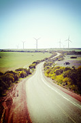 Country Road Prints - Lonely Country Road and Wind Farm Western Australia Print by Colin and Linda McKie