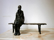 Realism Sculpture Metal Prints - Lonely girl Metal Print by Nikola Litchkov