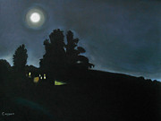 Night Scene Pastel Framed Prints - Lonely House and the Moon Framed Print by Robert Coppen