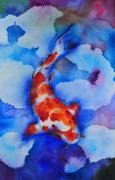 Koi Painting Posters - Lonely Koi Poster by John W Walker