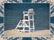 Hamburg Digital Art Posters - Lonely Lifeguard Station at the End of Summer Poster by Rose Santuci-Sofranko