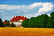 Yellow Sky Prints - Lonely Mansion Print by Ayse Toyran