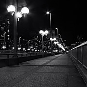 Cambie Bridge Framed Prints - Lonely Nights Framed Print by Val Faustino