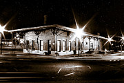 Railroad Depot Framed Prints - Lonely Old Night - Montezuma Train Depot - Georgia Framed Print by Mark E Tisdale