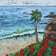 Heisler Park Paintings - Lonely Palm by Nancy Goldman
