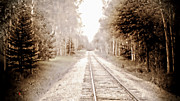 Train Tracks Painting Framed Prints - Lonely Railway Framed Print by Adam Vance