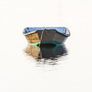 Apalachicola Prints - Lonely Row Boat Square Version Print by Bill Swindaman