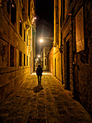 Alley Paintings - Lonely Walk Home by Michael Pickett