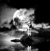 Alone Digital Art Posters - Lonely wolf with full moon Poster by Jaroslaw Grudzinski