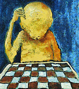 Intellect Digital Art Framed Prints - Lonesome Chess Player Framed Print by Michal Boubin