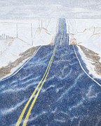 Blowing Snow Prints - Lonesome Highway Print by Garry McMichael
