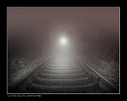 Snowy Night Photos - Lonesome Night Train by Pedro L Gili