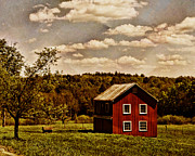 Barns Digital Art - Long Ago at the Farm by Pamela Phelps