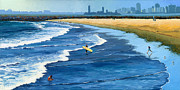 Gull Paintings - Long Beach California by Alice Leggett