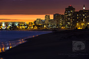 Twilight Framed Prints Prints - Long Beach Comes Alive at Dusk Print by Denise Dube