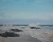 Crashing Surf Paintings - Long Beach Seascape #1 by William Young