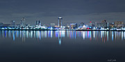 Panoramic Marina Framed Prints - Long Beach Skyline Framed Print by Heidi Smith
