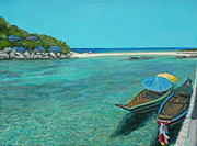 Southeast Asia Paintings - Long Boats at Koh Tao by Camille Youngquist