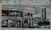 Linocut Linoluem Drawings Framed Prints - Long Center on Map Framed Print by William Cauthern
