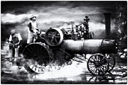 Greyhound Photos - LONG DAY IN THE FIELD SCALE CASE STEAM TRACTOR B and W by F Leblanc