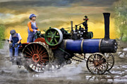 Greyhound Photos - Long Day In The Field Scale Case Steam Tractor by F Leblanc