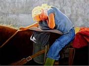 Cowgirl Prints Paintings - Long Day in the Saddle by Ronald Wilkinson