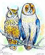 Owl Pastels Framed Prints - Long-eared owl and barn owl  Framed Print by Kurt Tessmann