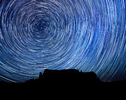 Prehistoric Pyrography - Long Exposure Star Trail Image at Night by Katrina Brown