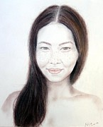 Beauty Mark Mixed Media - Long Haired Natural Asian Beauty by Jim Fitzpatrick