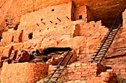 Mesa Verde Framed Prints - Long House Ladders Framed Print by Adam Jewell