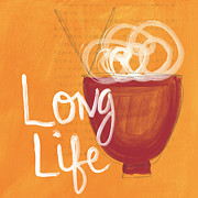Life Mixed Media Posters - Long Life Noodle Bowl Poster by Linda Woods