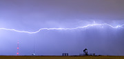 Long Lightning Bolt Strike Across Oil Well Country Sky Print by James Bo Insogna