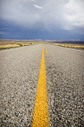 Asphalt Metal Prints - Long Lonely Road Metal Print by Adam Romanowicz
