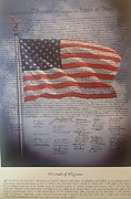 Declaration Of Independence Mixed Media Framed Prints - Long May She Wave Framed Print by Michael Knight