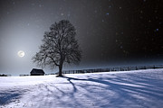 Snowy Night Photo Posters - Long Moonrise Shadows Poster by Larry Landolfi