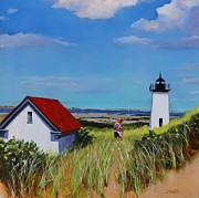 Beach Scene Painting Originals - Long Point Light Two by Laura Lee Zanghetti