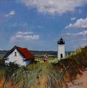Lighthouse Painting Originals - Long Point Lighthouse by Laura Lee Zanghetti