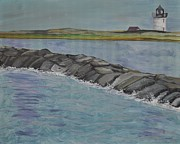 Massachusetts Coast Paintings - Long Point Lighthouse by Sally Rice