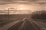 Alberta Prairie Landscape Posters - Long Road Home Poster by Laura Bentley