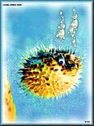 Porcupine Fish Digital Art Framed Prints - Long-spine Fish Framed Print by Daniel Janda