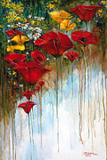 Texture Floral Painting Prints - Long Stem Poppies Print by Kirk Miller