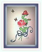 Butterflies Tapestries - Textiles Metal Prints - Long Stem Rose Metal Print by Mary Grabill