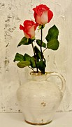 Pottery Pitcher Metal Prints - Long Stemmed Red Roses In Pottery Metal Print by Marsha Heiken